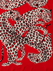 Yves Saint Laurent Red Leopard Print Silk Scarf