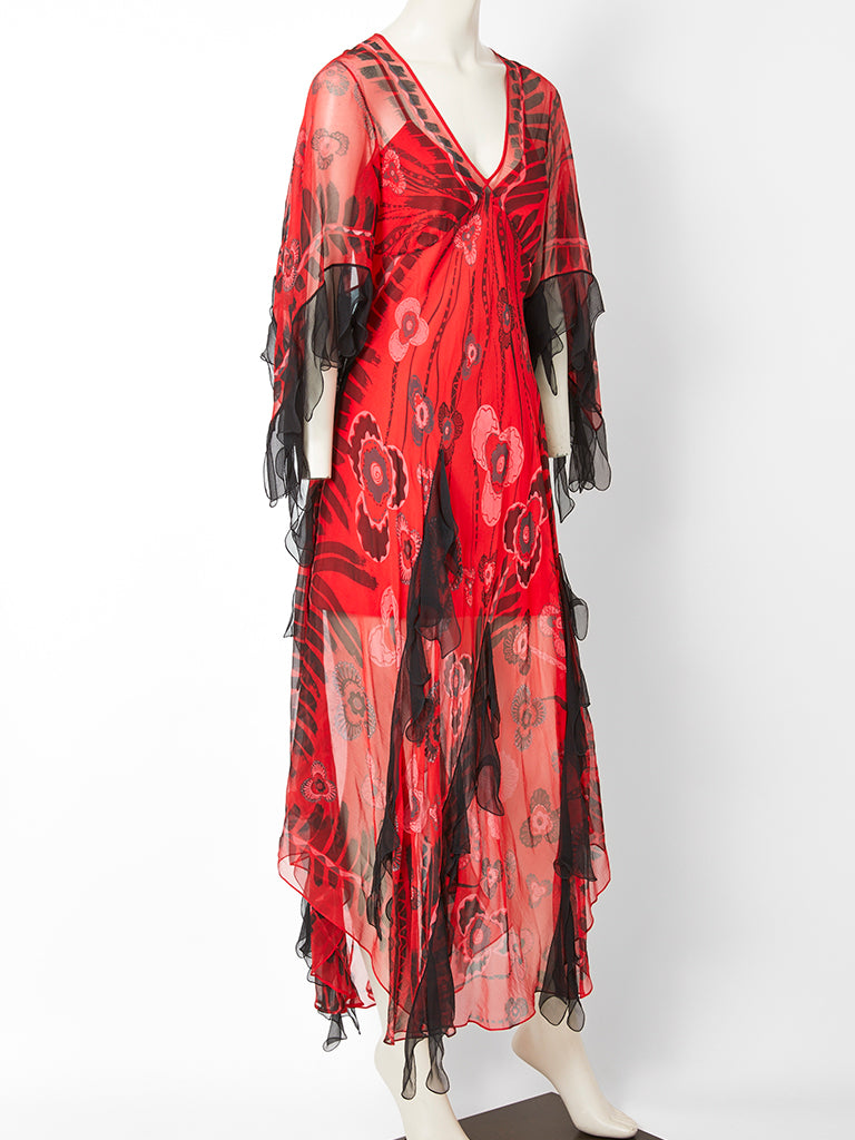 Zandra Rhodes Iconic Print Midi Dress with Tulle.