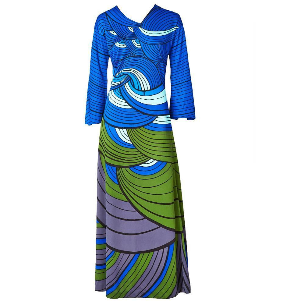 Roberta di Camerino Graphic Print Jersey Maxi Dress