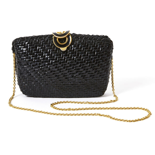 Rodo Black Straw Clutch/Shoulder Bag