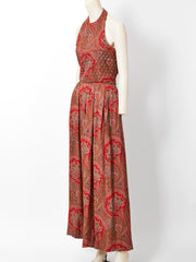 Carolyne Roehm Paisley Patterned Silk Jumpsuit
