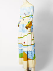 Ronald Amey Bicycle Print Maxi Dress