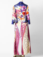 Ronald Amey Silk Floral Print Maxi Dress