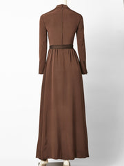 Ronald Amey Chocolate Brown Silk Chiffon Gown