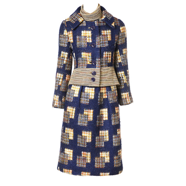 Ronald Amey Navy Tweed Dress and Jacket Ensemble