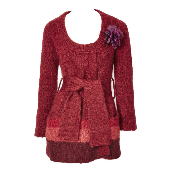 Sonia Rykiel Cranberry Wool and Mohair Knit Belted Cardigan