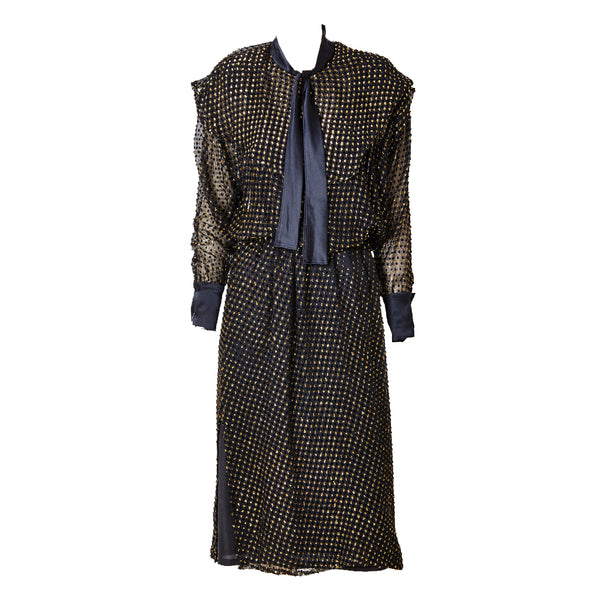 Sonia Rykiel Velvet Point D'esprit and Lurex Dress