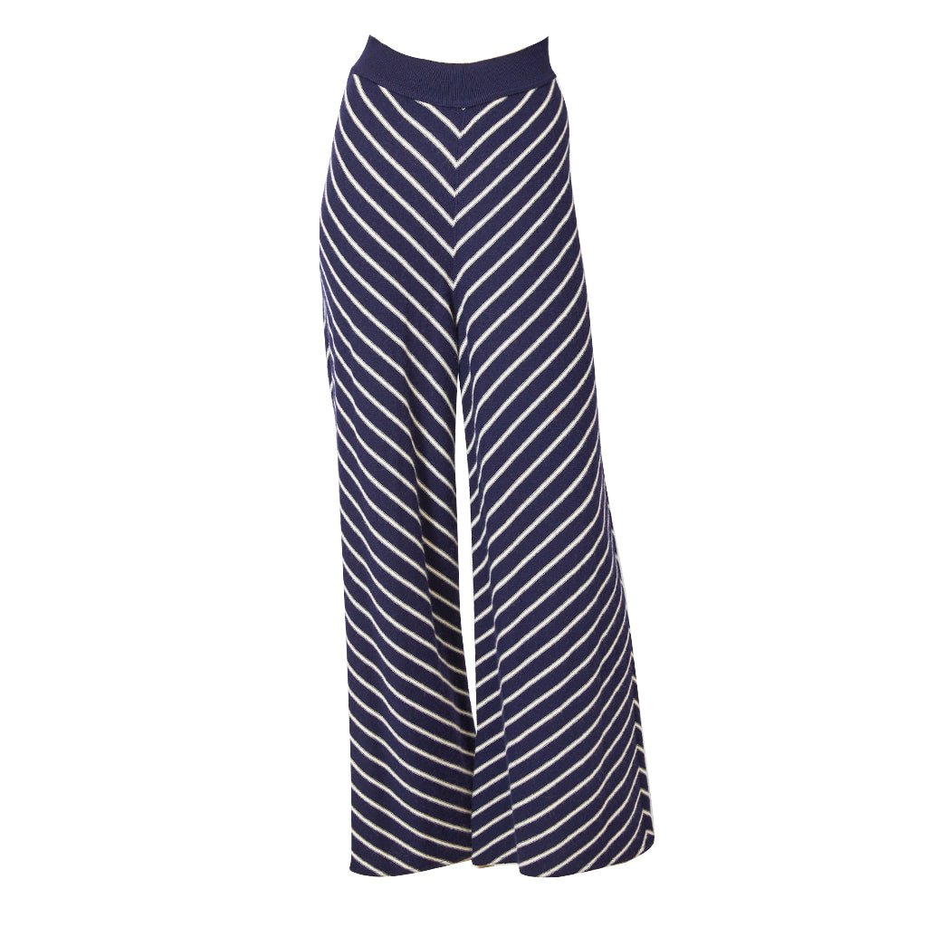 Sonia Rykiel Navy and Ivory  Diagonal Stripe Wool Knit Trouser