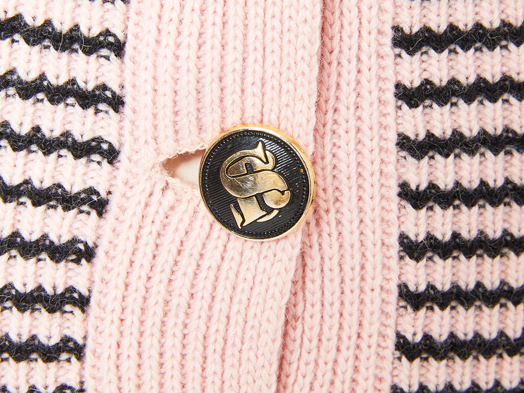 Sonia Rykiel Pink and Black Wool Knit Sweater Set