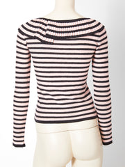 Sonia Rykiel Stripe Sweater with Pleated Collat detail