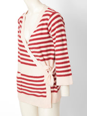Sonia Rykiel Stripe Wool Knit Wrap Cardigan