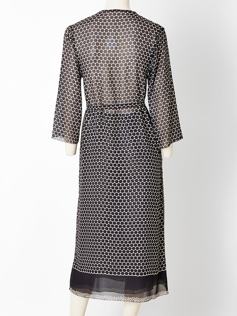 Sonia Rykiel Black and White Dot Patterned Chiffon Shift