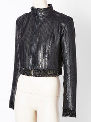 Fernando Sanchez Sequined and Beaded Cropped Evening Jacket