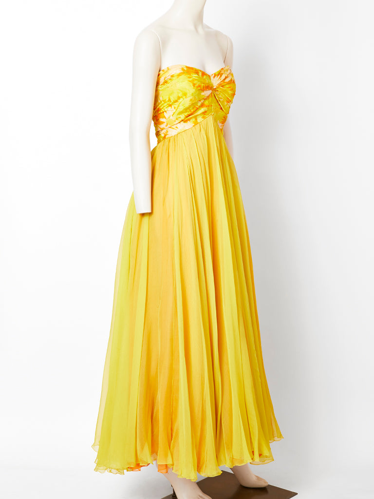 Sarmi Chine Taffeta and Chiffon Gown