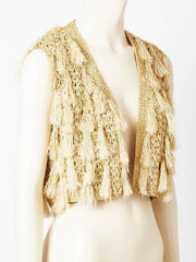 Scaasi Crochet Vest with Tassels