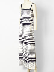 Jean Louis Scherrer Navy and White Crepe Maxi Dress with Scarf