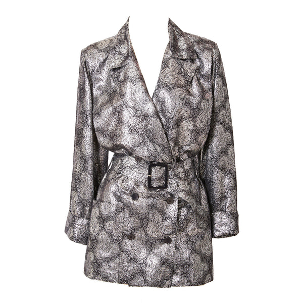 Jean Louis Scherrer Silver Lamé Evening Trench