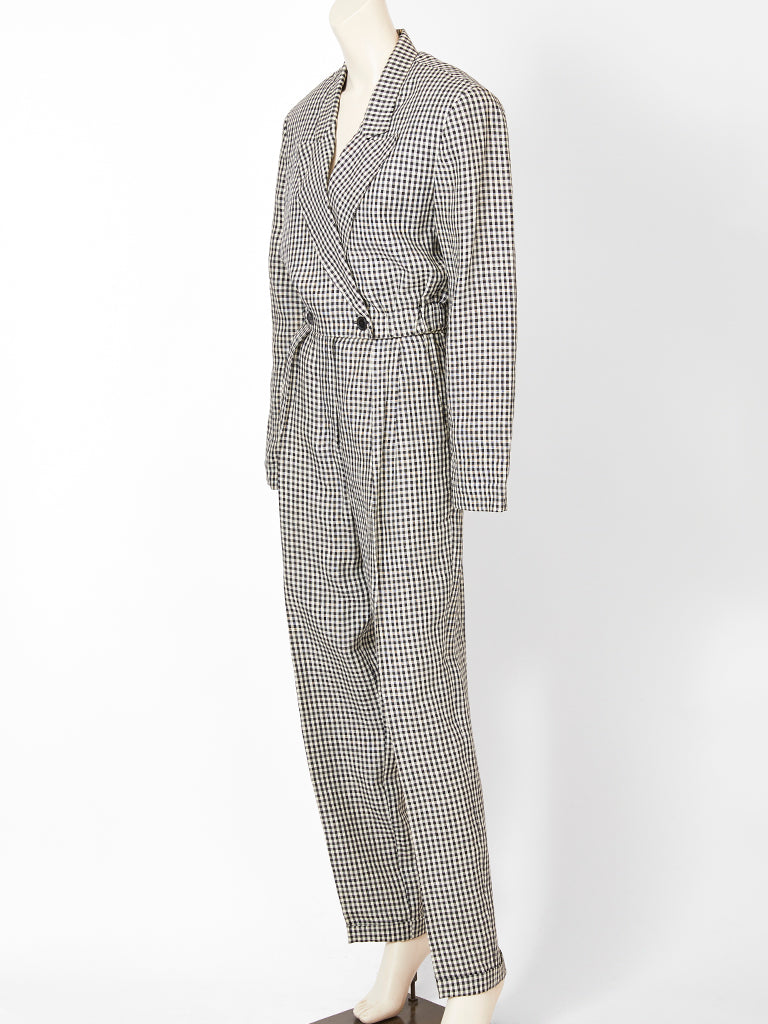 Shamask Black and White Gingham Pant and Cropped Jacket