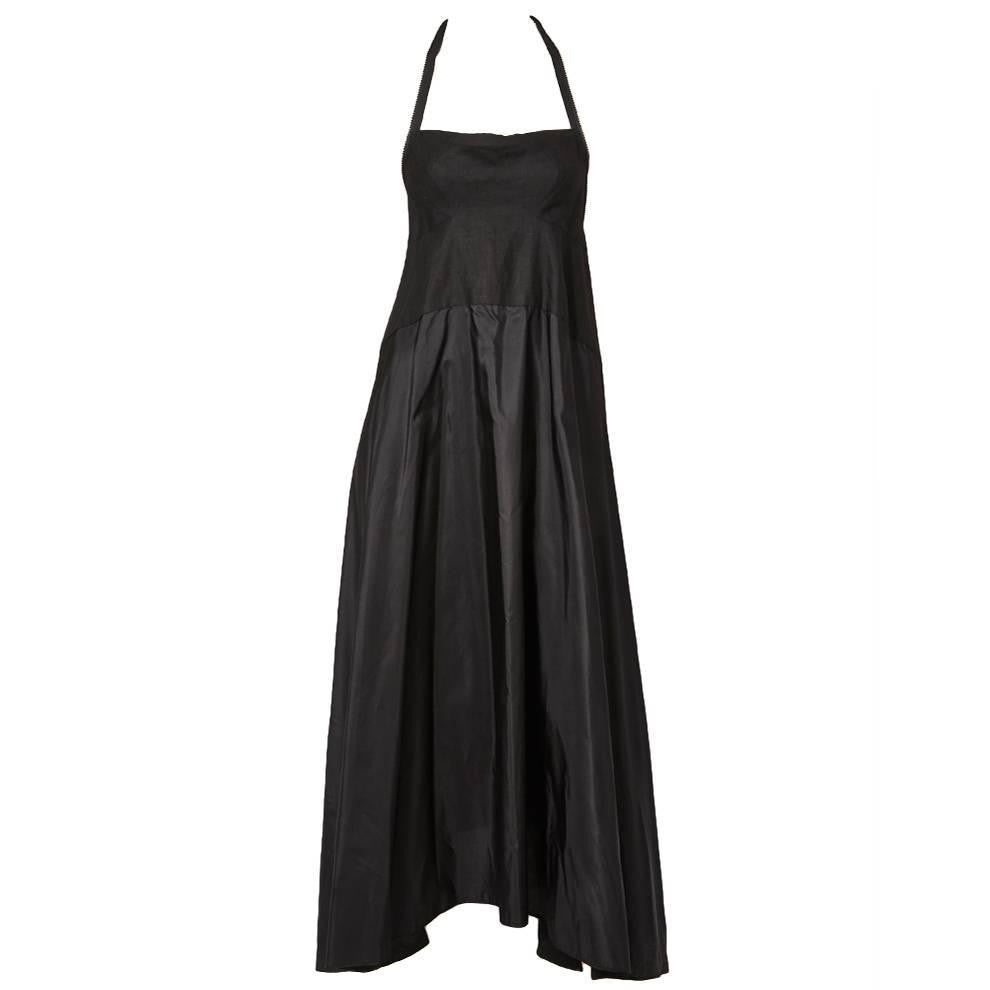 Shamask Linen and Taffeta Dress with Zipper Detail.