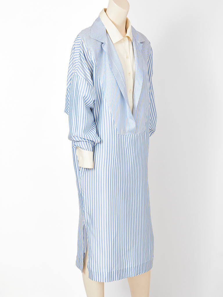 Shamask  Oversize Silk Stripe Shirt Dress