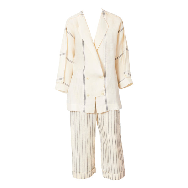 Shamask Ivory and Black Chalk Stripe Linen Ensemble