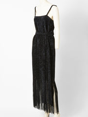 Simonetta Black Chenille Fringed Dress