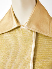 Tom Ford for Gucci  Runway Gold Coat with Leather Detail
