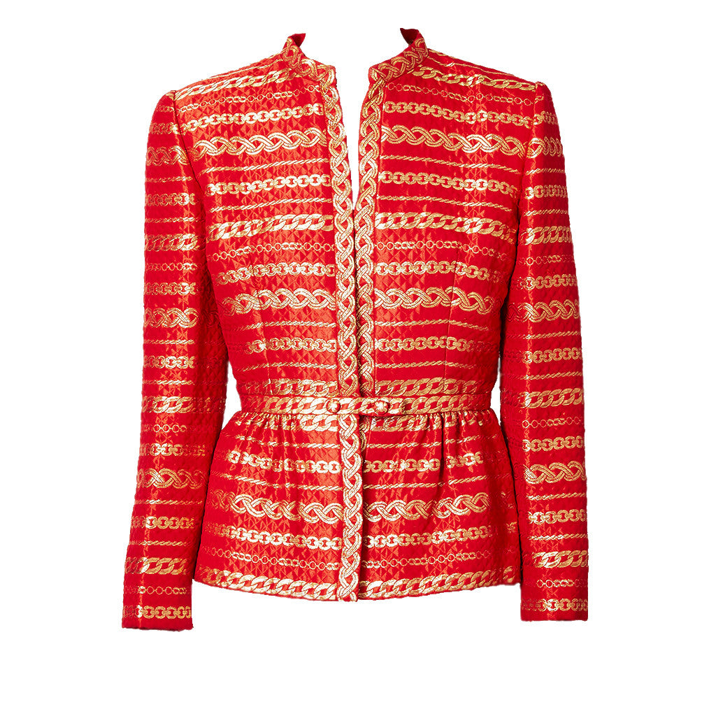 Trigere Red and Gold Brocade Jacket with Peplum