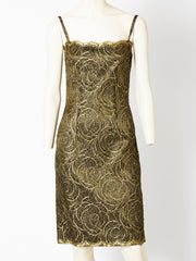 Trigere Black and Gold Lace Dress and Jacket Evening Ensemble