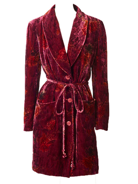 Ungaro Printed Velvet Belted Coat Dress