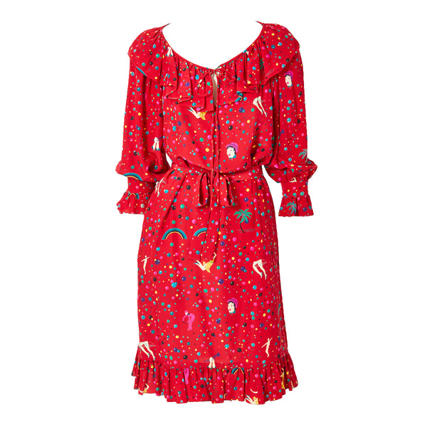 Ungaro Circus Pattern Silk Day Dress