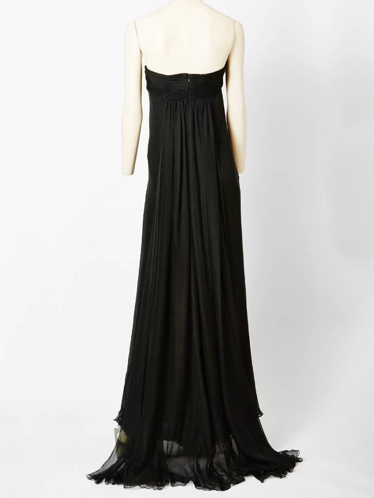 Valentino Strapless Chiffon Gown With Train