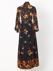 Valentino Acorn Pattern Velvet and Silk Ensemble 1970's