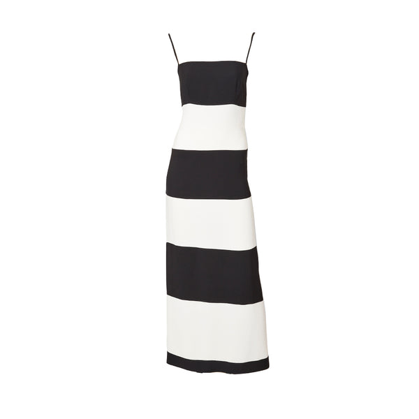 Valentino Black and White Crepe Evening Dress