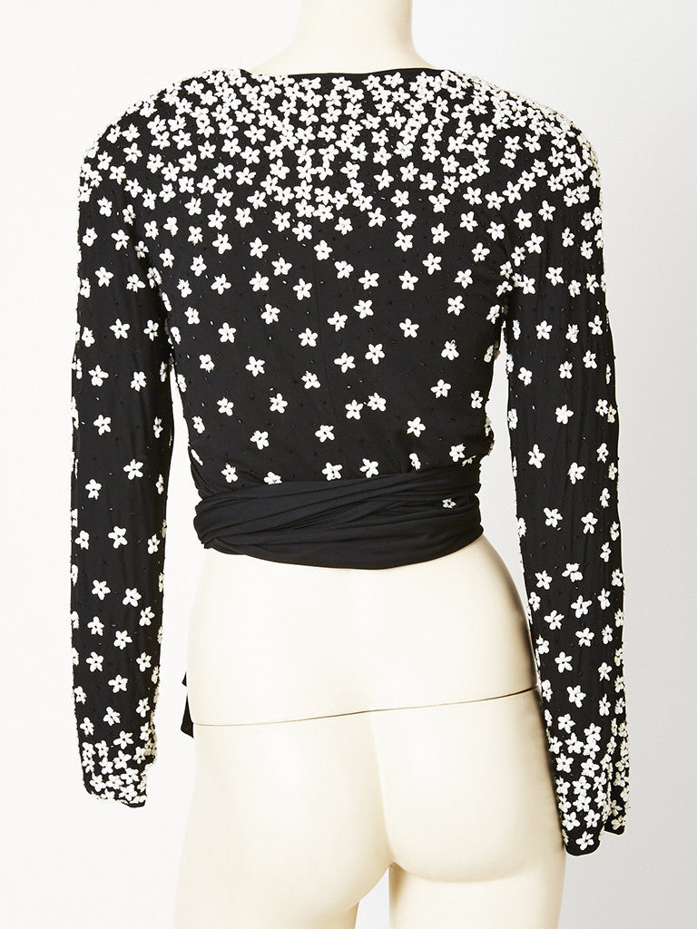 Valentino Jersey Beaded Wrap Top