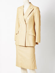 Valentino Ecru Double Breasted Skirt Suit