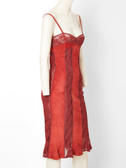 Valentino Suede and Lace Slip Dress