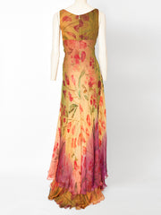 Valentino Floral Pattern Chiffon Gown