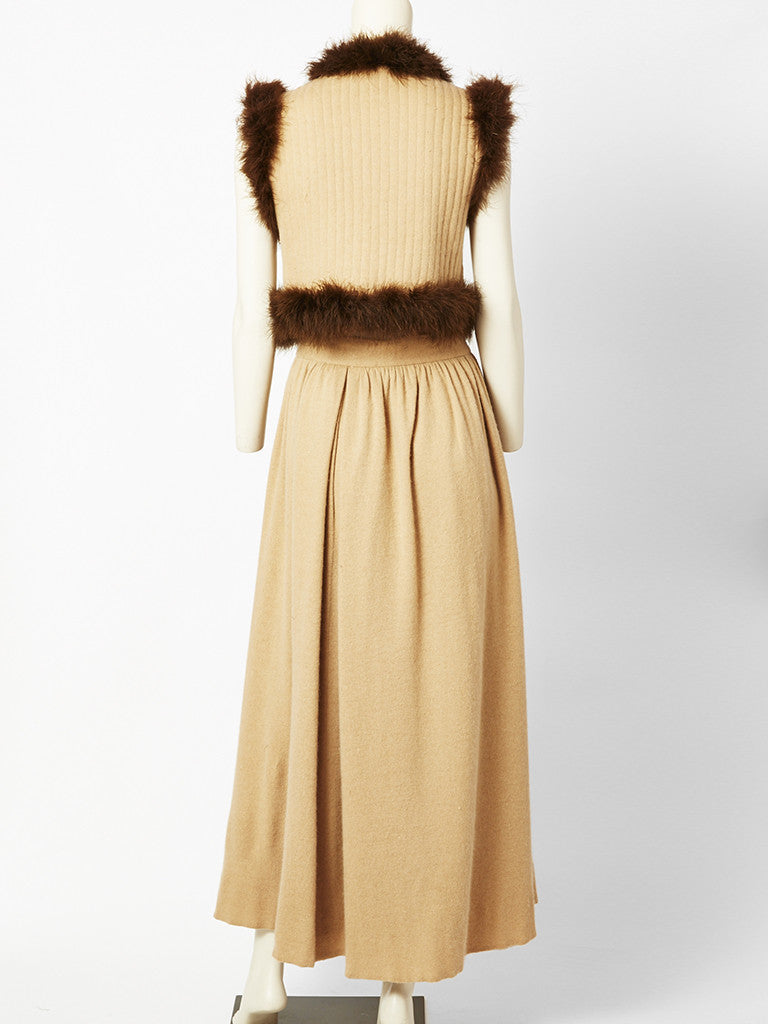 Valentino Wool Skirt and Vest Ensemble With Maribou Trimming