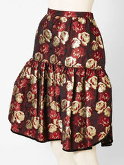 Valentino Floral Brocade Skirt With Velvet Trim