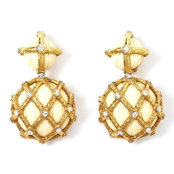 Valentino Gold and Ivory Earrings