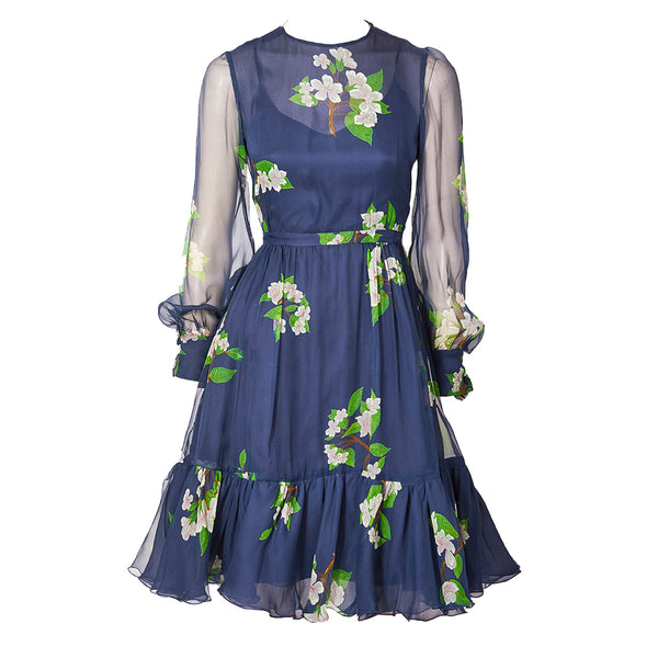 Valentino Organza Floral Pattern Dress