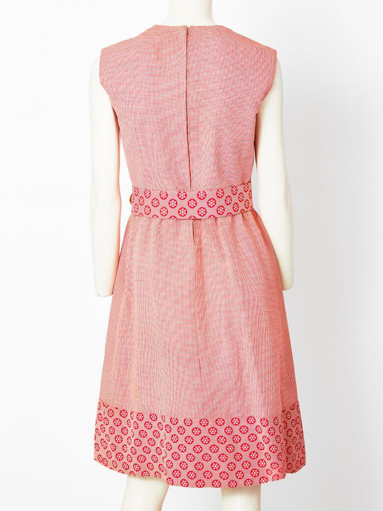 Valentino Mixed Patterns Day Dress C. 1970's