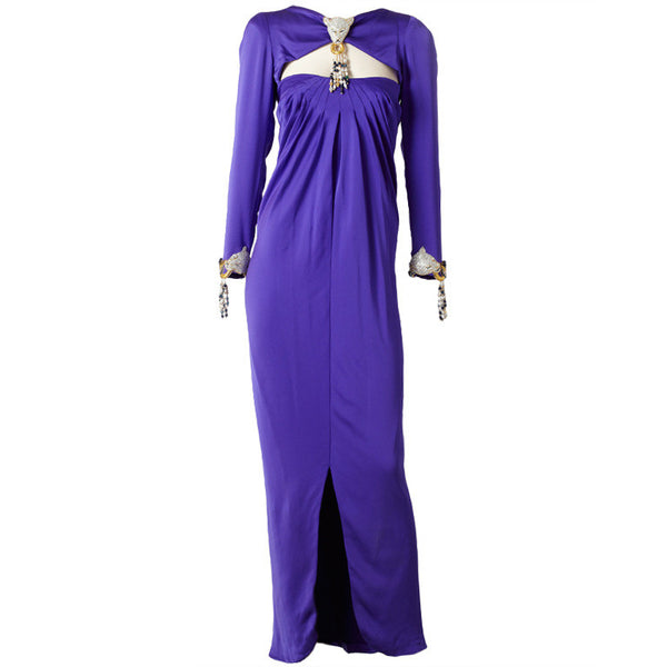 Carolyne Roehm Rhinstone Embellished Satin Evening Gown