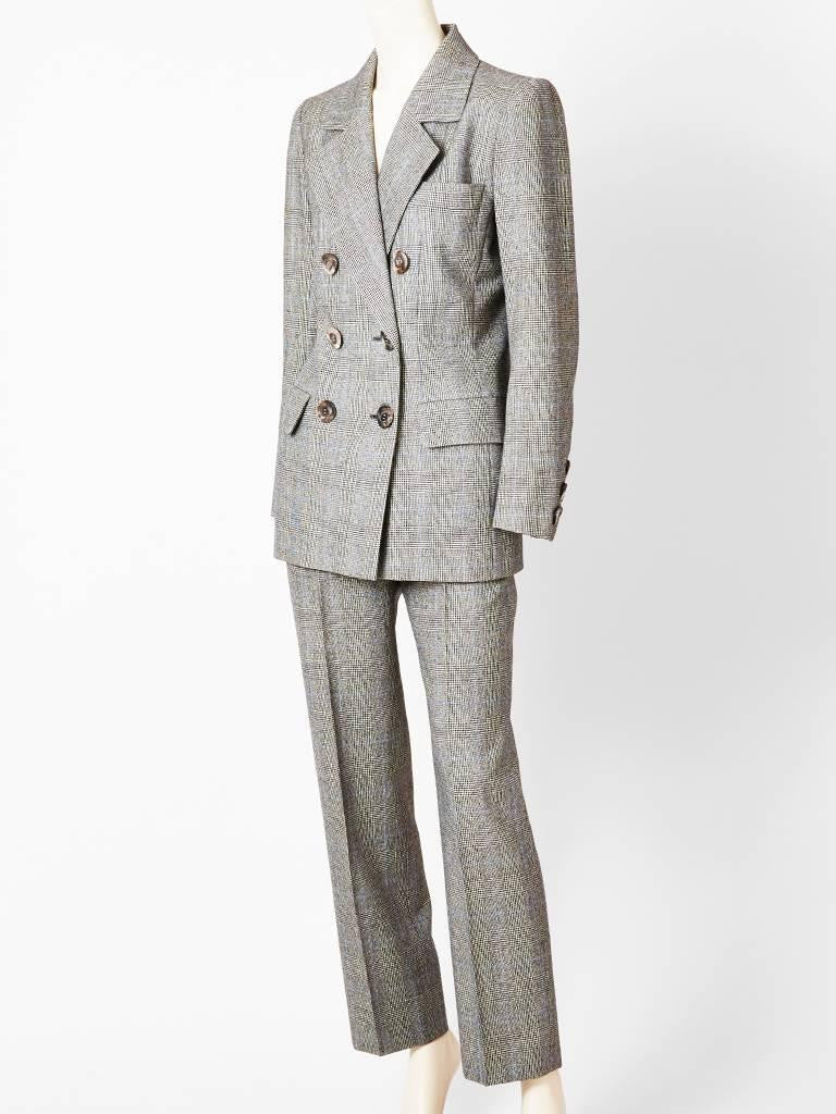 Yves Saint Laurent Couture Prince of Wales Plaid Pantsuit