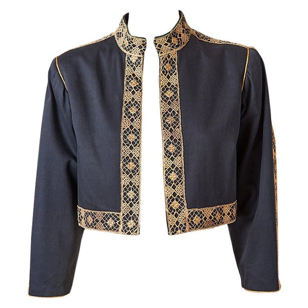 Yves Saint Laurent Rive Gauche Cropped Jacket with Metallic Lace Detail