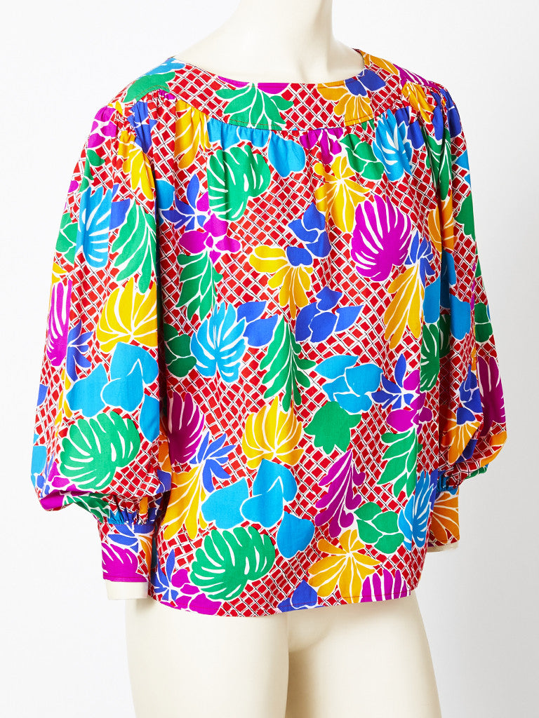 Yves Saint Laurent Multitoned Smock Blouse