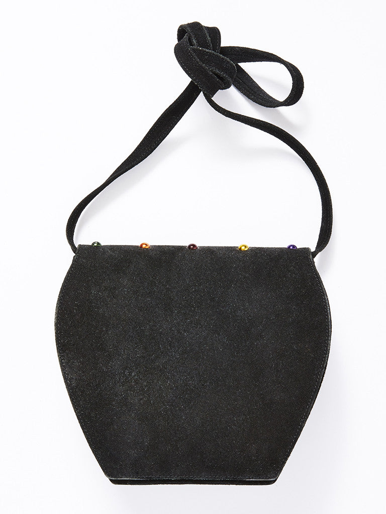 Yves Saint Laurent Black Suede Multi-colored Rivet Bag
