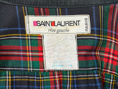 Yves Saint Laurent Smock Style Raincoat with Plaid Lining