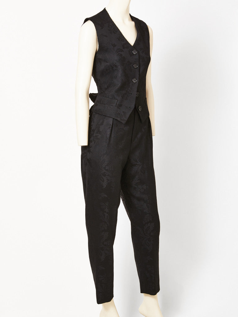 Yves Saint Laurent Damask Pant and Vest Ensemble